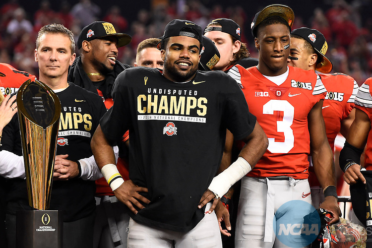 12 JAN 2015:  Ezekiel Elliott (15) of the Ohio State University celebrates after defeating the University of Oregon during the College Football Playoff National Championship held at AT&T Stadium in Arlington, TX.  Ohio State defeated Oregon 42-20 for the national title.  Jamie Schwaberow/NCAA Photos