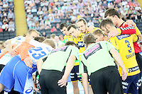 Mannschaften bekommen letzten Anweisungen - Tag des Handball, Rhein-Neckar Löwen vs. Hamburger SV, Commerzbank Arena