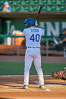 Jimmy Titus (40) of the Ogden Raptors at bat against the Missoula Osprey at Lindquist Field on August 12, 2019 in Ogden, Utah. The Raptors defeated the Osprey 4-3. (Stephen Smith/Four Seam Images)