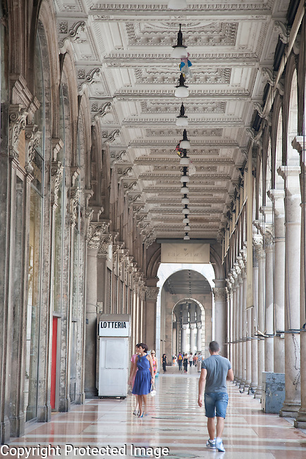 Duomo Square Walkways next to Vittorio Emanuele Shopping Gallery in Milan, Italy