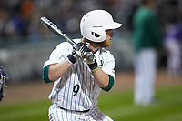 Tommy Bullock (9) of the Charlotte 49ers at bat against the Clemson Tigers at BB&T BallPark on March 26, 2019 in Charlotte, North Carolina. The Tigers defeated the 49ers 8-5. (Brian Westerholt/Four Seam Images)
