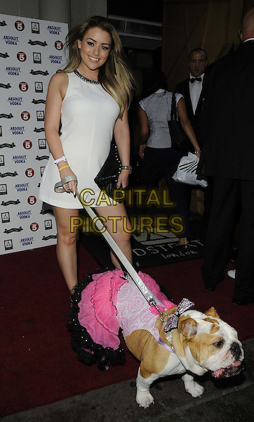 Brandy Brewer &amp; Baby Gracie<br /> attended the &quot;World's Most Pampered Pet&quot; new Channel 5 TV series launch party, DSTRKT, Rupert St., London, England.<br /> August 21st, 2013<br /> full length white sleeveless dress dog animal pet leash lead pink dress <br /> CAP/CAN<br /> &copy;Can Nguyen/Capital Pictures