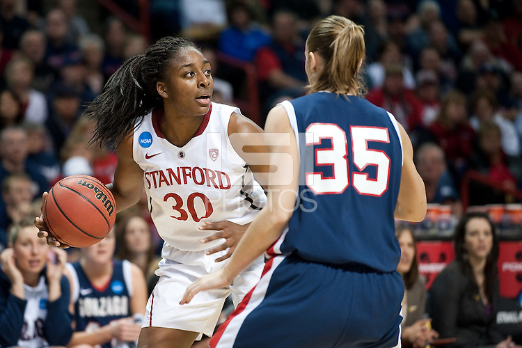 SPOKANE, WA - MARCH 28, 2011: Nnemkadi Ogwumike, Stanford Women's Basketball vs Gonzaga, NCAA West Regional Finals at the Spokane Arena on March 28, 2011.