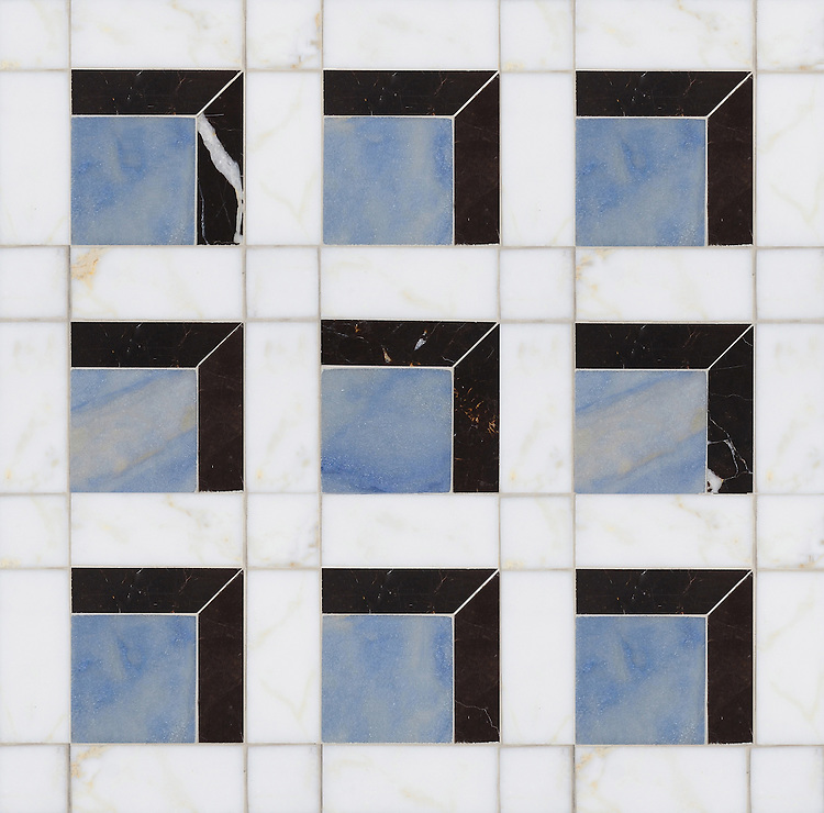 Paseo, a handmade mosaic shown in polished Calacatta, honed Blue Macauba, and honed Saint Laurent, was designed by Paul Schatz as part of the Illusions® collection by New Ravenna.
