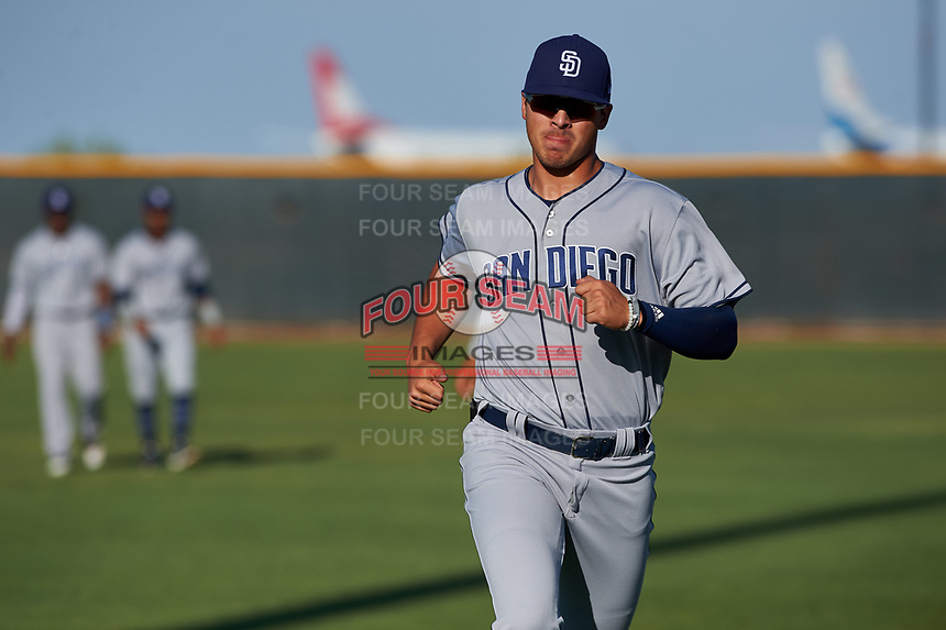 AZL Padres 1 Payton Smith (50) warms up before an Arizona League game against the AZL Indians Red on June 23, 2019 at the Cleveland Indians Training Complex in Goodyear, Arizona. AZL Indians Red defeated the AZL Padres 1 3-2. (Zachary Lucy/Four Seam Images)