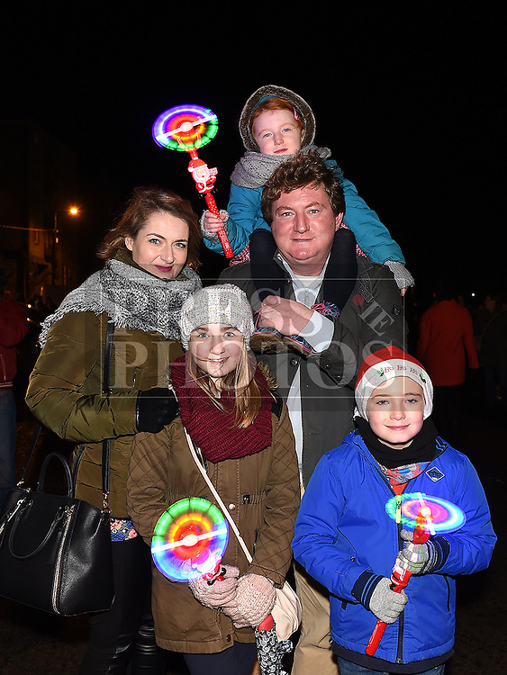 The Coogan Family at the Fireworks display sponsored by Funtasia at Scotch Hall Shopping Centre as part of the Drogheda Christmas BonanzaFestival. Photo:Colin Bell/pressphotos.ie
