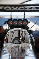 May 22, 2016; Topeka, KS, USA; Detailed view of the cockpit canopy for the dragster of NHRA top fuel driver Antron Brown during the Kansas Nationals at Heartland Park Topeka. Mandatory Credit: Mark J. Rebilas-USA TODAY Sports