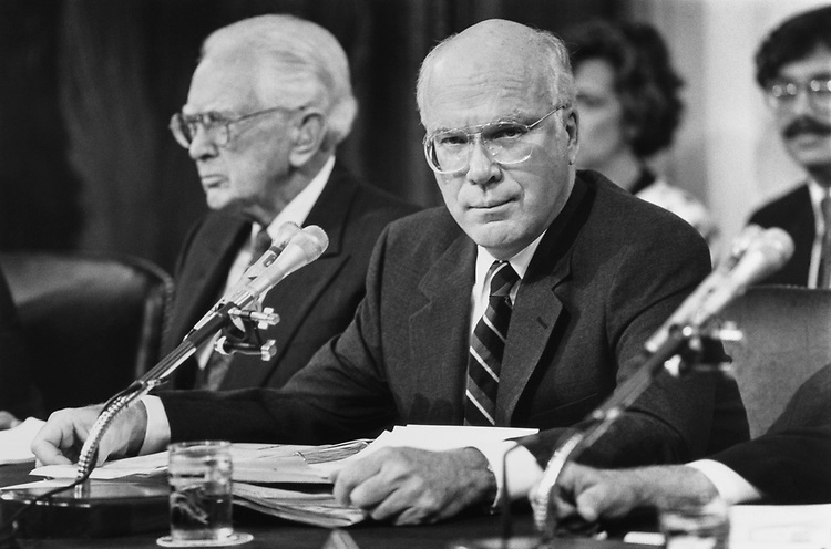 Sen. Patrick Leahy, D-Vt., at Clarence Thomas hearings with Sen. Howard Metzenbaum, D-Ohio. 1991 (Photo by Laura Patterson/CQ Roll Call)