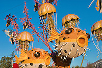 Flower covered floats used in 2010  Rose Parade, Tournament of Roses, Pasadena; CA Underwater scene, Jellyfish, Puffer Fish, Clown Fish,