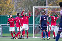 The Harlow players celebrate what turned out to be the winning goal during Harlow Town vs Dulwich Hamlet, Buildbase FA Trophy Football at The Harlow Arena on 11th November 2017