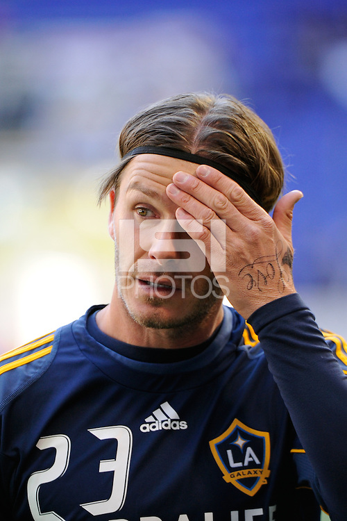 David Beckham (23) of the Los Angeles Galaxy prior to playing the New York Red Bulls during the 1st leg of the Major League Soccer (MLS) Western Conference Semifinals at Red Bull Arena in Harrison, NJ, on October 30, 2011.