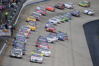 May 31, 2008; Dover, DE, USA; Nascar Nationwide Series drivers Denny Hamlin (18) and Carl Edwards (60) lead the field to the green flag during the Heluva Good 200 at the Dover International Speedway. Mandatory Credit: Mark J. Rebilas-US PRESSWIRE