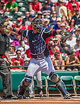 21 March 2015: Atlanta Braves catcher A.J. Pierzynski in action during a Split Squad Spring Training game against the Washington Nationals at Champion Stadium at the ESPN Wide World of Sports Complex in Kissimmee, Florida. The Braves defeated the Nationals 5-2 in Grapefruit League play. Mandatory Credit: Ed Wolfstein Photo *** RAW (NEF) Image File Available ***