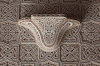 Wall lamp in carved stucco, Kasbah of the Glaoua family, Telouet, High Atlas, Morocco. The fortress was begun in the 19th century as the residence Thami el Glaoui, 1879-1956, who was Pasha of Marrakech 1912-56. It sits at 1800m in the Atlas mountains on an ancient caravan route from the Sahara to Marrakech. Picture by Manuel Cohen
