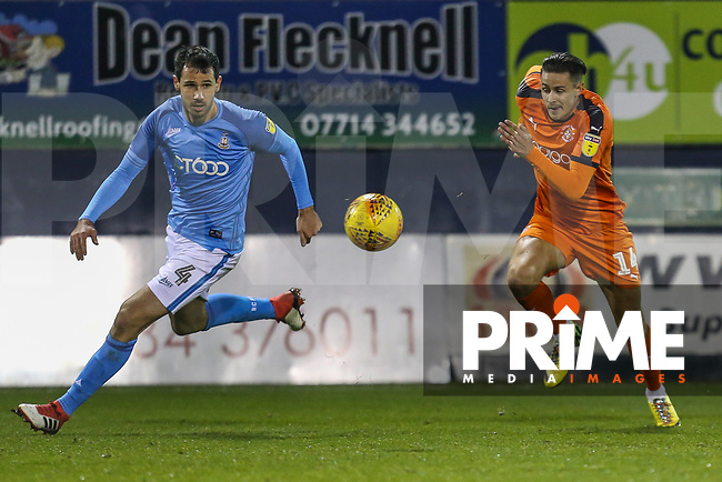 Ryan McGowan of Bradford City and Harry Cornick of Luton Town during the Sky Bet League 1 match between Luton Town and Bradford City at Kenilworth Road, Luton, England on 27 November 2018. Photo by David Horn.