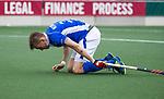 AMSTELVEEN - Philip Meulenbroek (Kampong)   tijdens  de shoot outs, bij  de  eerste finalewedstrijd van de play-offs om de landtitel in het Wagener Stadion, tussen Amsterdam en Kampong (1-1). Kampong wint de shoot outs.  . COPYRIGHT KOEN SUYK