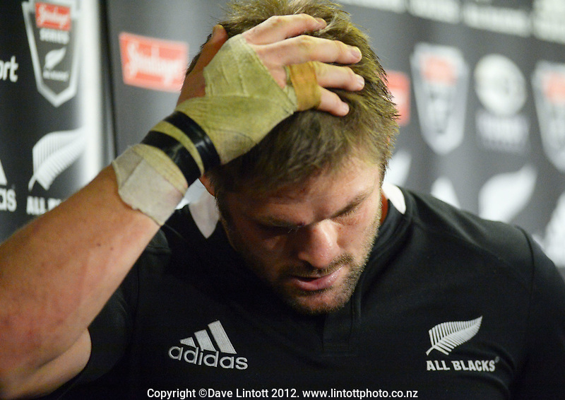 All Blacks captain Richie McCaw leaves the post-match press conference following the Steinlager Series international rugby test match between All Blacks and Ireland at Waikato Stadium, Hamilton, New Zealand on Saturday, 23 June 2012. Photo: Dave Lintott / lintottphoto.co.nz