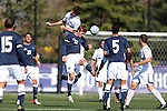 21 October 2012: Northwestern's Chris Ritter (6) and Penn State's Owen Griffith (12) challenge for the ball. The Northwestern University Wildcats played the Penn State University Nittany Lions at Lakeside Field in Evanston, Illinois in a 2012 NCAA Division I Men's Soccer game. Penn State won the game 1-0 in golden goal overtime.