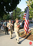 TORRINGTON, CT -14 June 2005 -061405BZ06- Paul Eichner, Senior Vice Commander VFW Post 9086, carrying the flag, retires the colors during the annual Flag Day ceremony sponsored by the Torrington Lodge of Elks Tuesday evening.  <br />  Jamison C. Bazinet Photo
