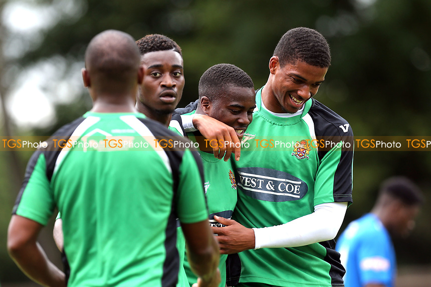 Fejiri Okenabirhie of Dagenham is congratulated after scoring the second goal during Bedford Town vs Dagenham & Redbridge, Friendly Match Football at The Eyrie on 15th July 2017