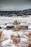USA, Utah, Escalante, trucks parked for the winter