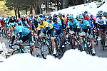 The peleton with Astana Pro Team and race leader Yellow Jersey Luis Leon Sanchez (ESP) ride through the snow banks during Stage 5 running 165km from Salon-de-Provence to Sisteron, France. 8th March 2018.<br /> Picture: ASO/Alex Broadway | Cyclefile<br /> <br /> <br /> All photos usage must carry mandatory copyright credit (&copy; Cyclefile | ASO/Alex Broadway)
