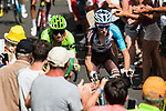 Rigoberto Uran (COL) Cannondale Drapac and Romain Bardet (FRA) AG2R climb during Stage 15 of the 104th edition of the Tour de France 2017, running 189.5km from Laissac-Severac l'Eglise to Le Puy-en-Velay, France. 16th July 2017.<br /> Picture: ASO/Alex Broadway   Cyclefile<br /> <br /> <br /> All photos usage must carry mandatory copyright credit (&copy; Cyclefile   ASO/Alex Broadway)