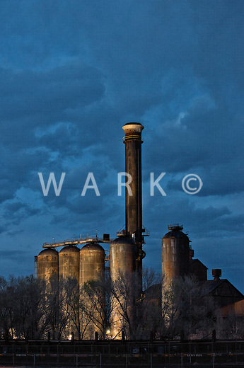 CF&I blast furnace stacks.  Lit by Bessemer Historical Society for museum exhibit opening. April 10, 2014