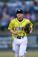 Second baseman Chandler Avant (3) of the Columbia Fireflies in a game against the Charleston RiverDogs on Saturday, April 6, 2019, at Segra Park in Columbia, South Carolina. Columbia won, 3-2. (Tom Priddy/Four Seam Images)