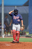 GCL Twins catcher Janigson Villalobos (46) during a game against the GCL Rays on August 9, 2018 at Charlotte Sports Park in Port Charlotte, Florida.  GCL Twins defeated GCL Rays 5-2.  (Mike Janes/Four Seam Images)