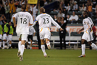 Los Angeles Galaxy midfielder (23) David Beckham celebrates scoring off a free kick during the first half against D.C. United at the Home Depot Center in Carson, CA on Wednesday, August 15, 2007. The Los Angeles Galaxy defaeted D. C. United 2-0 in a SuperLiga semifinal match.