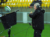The ball lands on Skysport commentator Ian Smith's monitor during the Super Rugby quarterfinal match between the Hurricanes and Sharks at Westpac Stadium, Wellington, New Zealand on Saturday, 23 July 2016. Photo: Dave Lintott / lintottphoto.co.nz