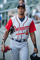 Hector Olivera (15) of the Gwinnett Braves prior to the game against the Charlotte Knights at BB&T BallPark on August 24, 2015 in Charlotte, North Carolina.  The Knights defeated the Braves 3-2.  (Brian Westerholt/Four Seam Images)