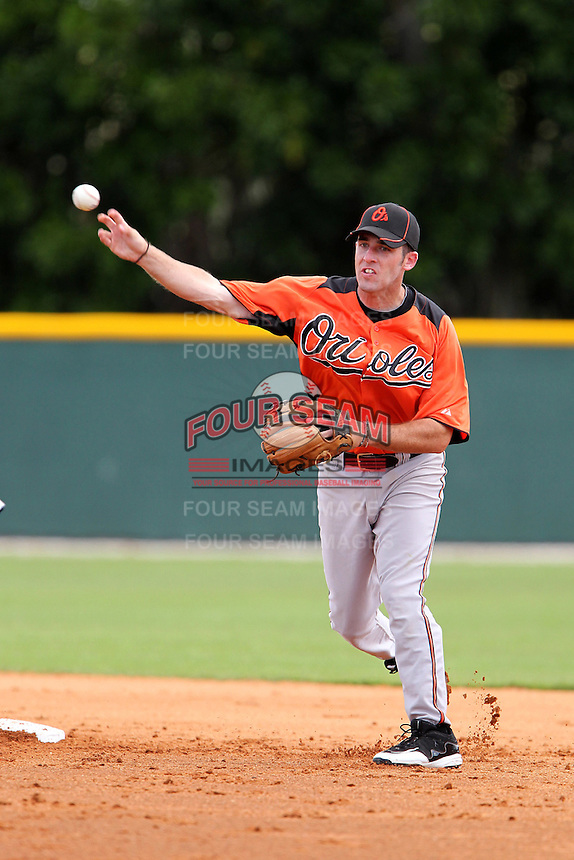 Baltimore Orioles Michael Rooney #53 during a spring training game against the Tampa Bay Rays at the Buck O'Neil Complex on March 21, 2012 in Sarasota, Florida.  (Mike Janes/Four Seam Images)