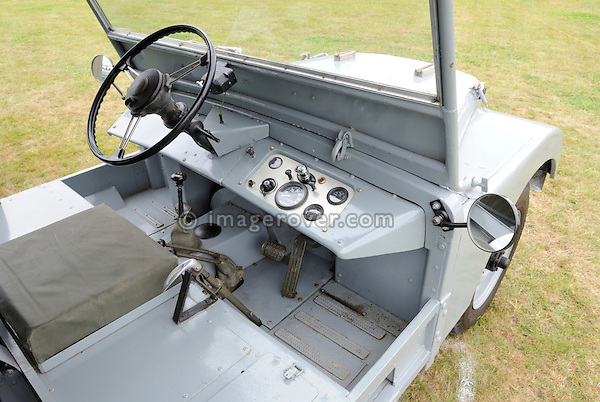 Replica of the very first Land Rover prototype from 1947, the famous Centre Steer. Dunsfold Collection of Land Rovers Open Day 2009, Dunsfold, Surrey, UK. --- No releases available, but releases may not be necessary for certain uses. Automotive trademarks are the property of the trademark holder, authorization may be needed for some uses.