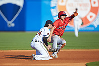 Nick Senzel (12) of the Louisville Bats slides into second base ahead of the tag by Toledo Mud Hens shortstop Pete Kozma (24) at Fifth Third Field on June 16, 2018 in Toledo, Ohio. The Mud Hens defeated the Bats 7-4.  (Brian Westerholt/Four Seam Images)