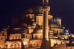 Istanbul, Turkey, Yeni Camii, Mosque, at night, Beyoglu,