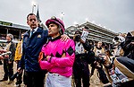 May 4, 2019 : NBC interviewer Nick Luck tries to offer jockey Luis Saez (pink cap) some consolation as he waited out a 23-minute objection. His mount Maximum Security would be disqualified and Flavien Prat and his mount, Country House, were awarded the win in the Kentucky Derby on Kentucky Derby Day at Churchill Downs on May 4, 2019 in Louisville, Kentucky. Scott Serio/Eclipse Sportswire/CSM