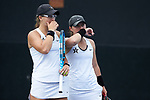 Christina Rosca (left) and Amanda Meyer of the Vanderbilt Commodores during their match at #3 doubles against the Georgia Tech Yellow Jackets during the semifinals at the 2018 NCAA Women's Tennis Championship at the Wake Forest Tennis Center on May 21, 2018 in Winston-Salem, North Carolina. The Commodores defeated the Yellow Jackets 4-2. (Brian Westerholt/Sports On Film)