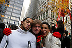 UNITED STATES, NEW YORK,  November 19, 2011..Joseph Allen (C) who officiates the gay ceremony poses next to Ivan Cabrera (R) and Jonathan Lopez ( L) a gay couple of Protesters affiliated with the Occupy Wall Street movement Celebrates Their symbolic wedding at Zuccotti Park, In Lower Manhattan New York November 19, 2011. VIEWpress /Kena Betancur.
