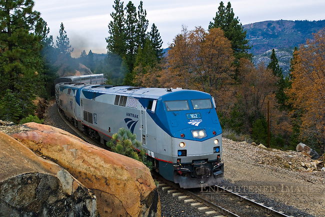 California Zephyr Amtrak train on the trans-Sierra Railroad near Emigrant Gap, California