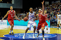 GRONINGEN - Basketbal, Donar - Feyenoord, Dutch Basketball League, seizoen 2018-2019, 16-02-2019, Donar speler Jason Dourisseau met Feyenoord speler Michael Kok