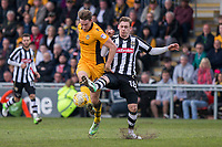 Ryan Bird of Newport County and Elliott Hewitt of Notts County during the Sky Bet League 2 match between Newport County and Notts County at Rodney Parade, Newport, Wales on 6 May 2017. Photo by Mark  Hawkins / PRiME Media Images.