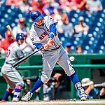 1 August 2018: New York Mets infielder Wilmer Flores in action against the Washington Nationals at Nationals Park in Washington, DC. The Nationals defeated the Mets 5-3 to sweep the 2-game weekday series. Mandatory Credit: Ed Wolfstein Photo *** RAW (NEF) Image File Available ***