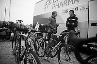 101st Scheldeprijs ..former Classics Champion Johan Museeuw (BEL) & Stijn Vandenbergh (BEL) having a chat pre-race