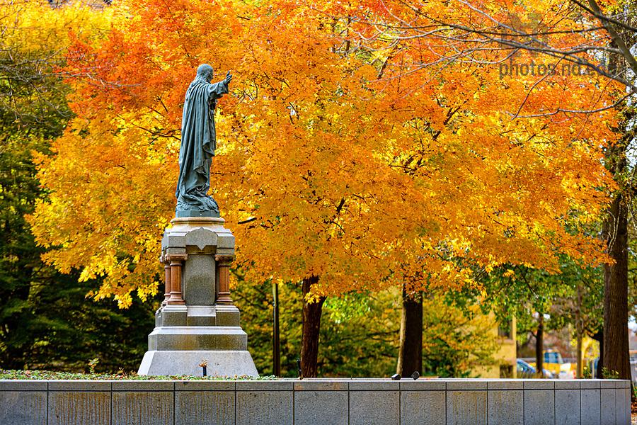 November 7, 2019; Jesus statue on main quad (Photo by Matt Cashore/University of Notre Dame)