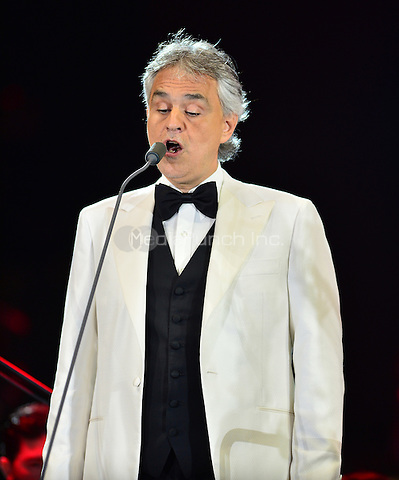 MIAMI BEACH, FL - MARCH 26: Andrea Bocelli performs onstage during the Miami Beach 100th Birthday Centennial Concert on March 26, 2015 in Miami Beach, Florida.  Credit: MPI10 / MediaPunch