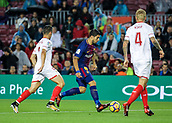 4th November 2017, Camp Nou, Barcelona, Spain; La Liga football, Barcelona versus Sevilla; Luis Suarez of FC Barcelona takes on two Sevilla players