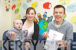BABY AND ME: A new baby and me course focising on the health and wellbeing of babies will be held in Listowel Family Resource Centre on September 26th. Pictured were: Nicola and Jack Heffernan with Stephen Stack from Listowel Family Resource Centre.