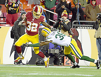 Washington Redskins running back Rob Kelley (32) is tackled by Green Bay Packers cornerback LaDarius Gunter (36) following a 66 yard run late in the fourth quarter at FedEx Field in Landover, Maryland on Sunday, November 20, 2016.  The Redskins won the game 42 - 24.<br /> Credit: Ron Sachs / CNP /MediaPunch